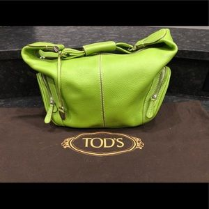 Tod's Lime Green Leather Hobo Style Bag